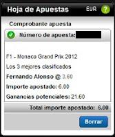 Apuestas Deportivas rosberg Formula 1 – G. P. Mónaco Alonso Podium Titanbet