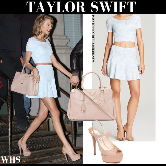 Taylor Swift in light blue crop top and light blue mini skirt from Aqua with pink Prada Saffiano tote and pink suede Prada platform sandals what she wore may 26