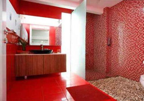Bricolage e Decoração Decoração de Casas de Banho (Banheiros) com Pastilha V -> Banheiro Com Pastilha Vermelha E Branca