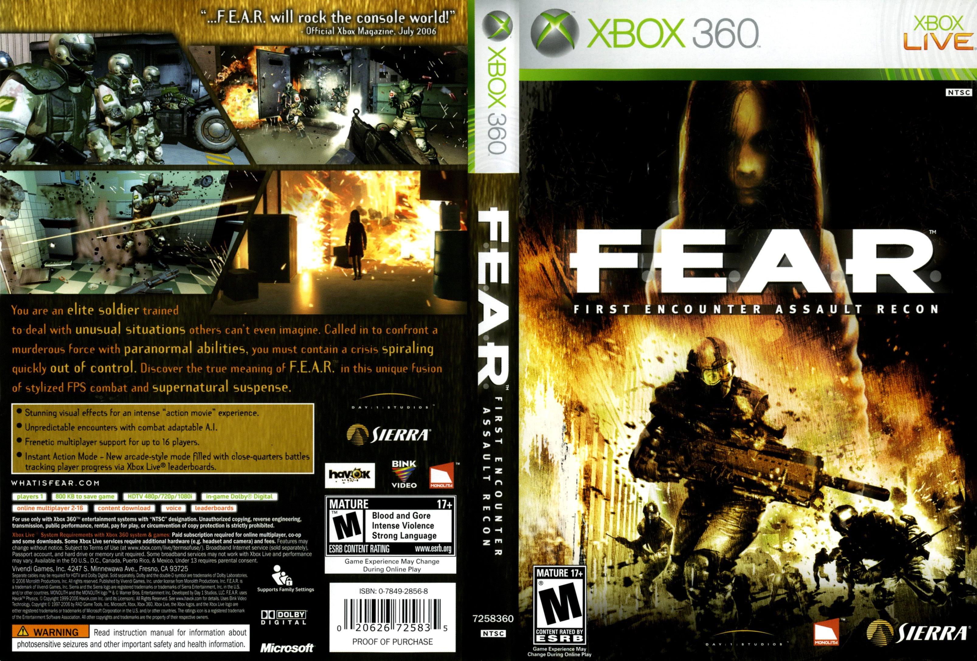 Capa fear xbox 360 gamecover capas customizadas para - Exclusivas fecar ...