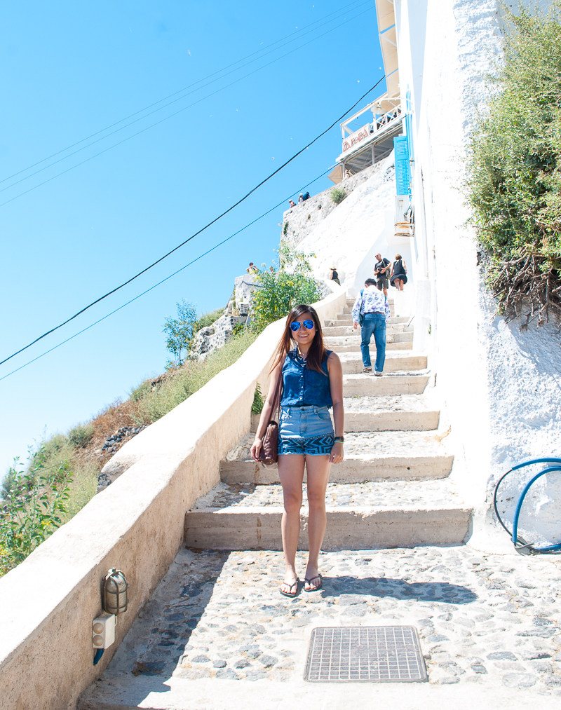 blue summer outfit of the day in Fira, Santorini, Greece