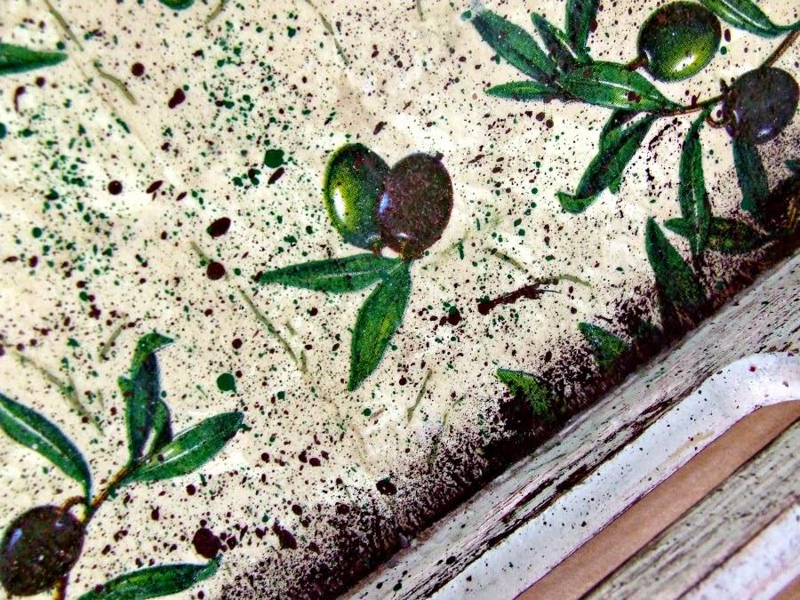 Piękna taca kuchenna decoupage z motywem oliwek. Taca TOSKANIA ręcznie ozdabiana i postarzana by Eco Manufaktura.