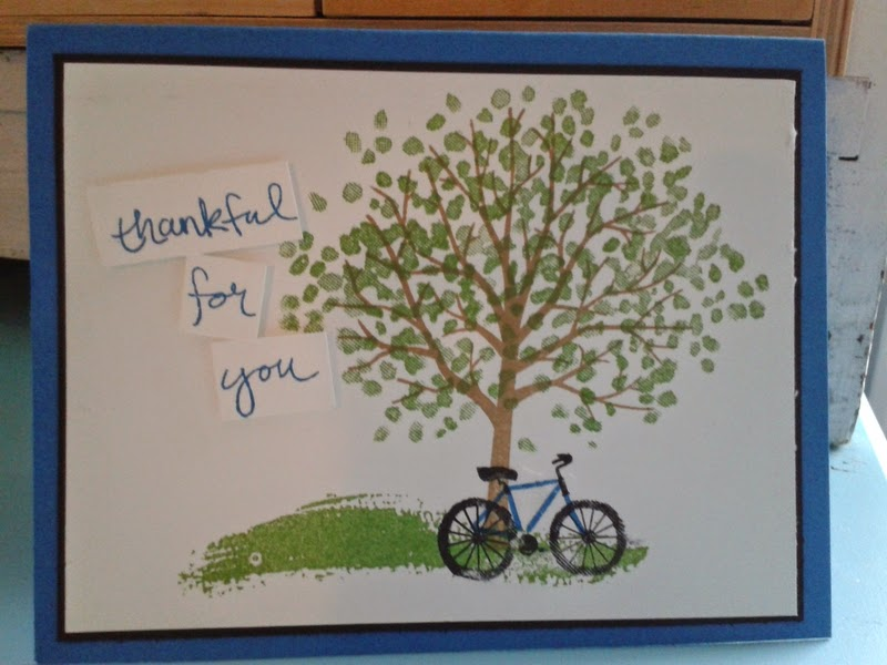 stampin up sheltering tree, thank you card, handmade