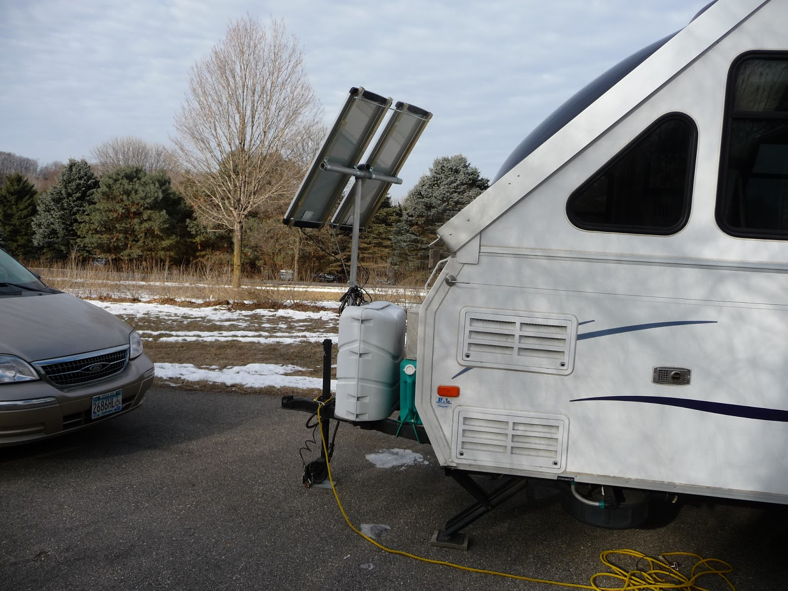 Solar Panel Support Pole And Frame Dave Theoleguy Nancys Plug Setup 2008 Aliner Camper Wiring Opposite Side Showing How Nicely The Sits So Van Doesnt Block Sun Rays