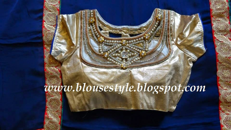 short sleeve stone work blouse