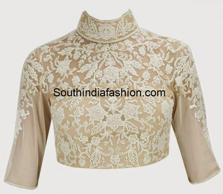 high neck pearl work blouse