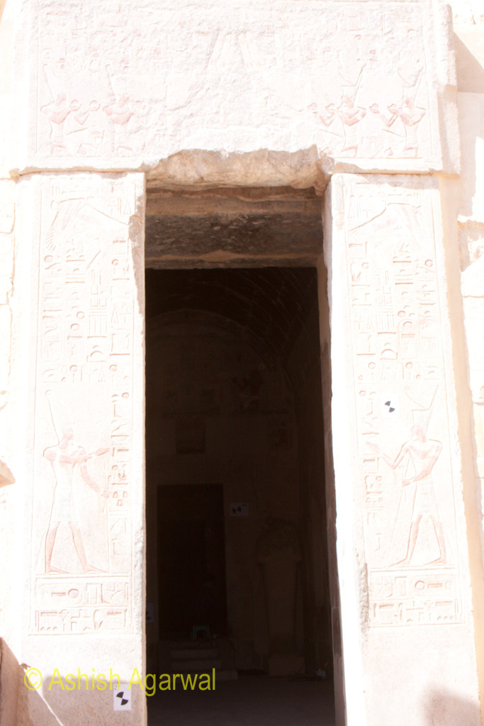 View from outside of the inner sanctum of the Hatshepsut mortuary temple in Egypt
