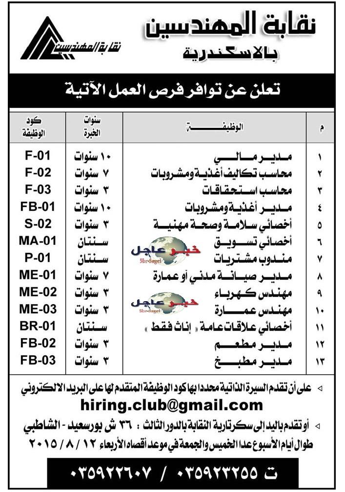 اعلان الأهرام - وظائف نقابة المهندسين للمؤهلات العليا والمتوسطة حتى 12 / 8 / 2015
