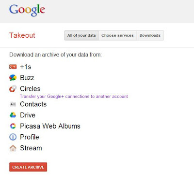 Google Takeout First Step