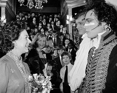 Adam meets Princess Margaret after the Royal Variety Show in 1981.