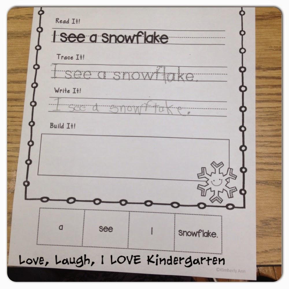 live laugh i love kindergarten winter writing center