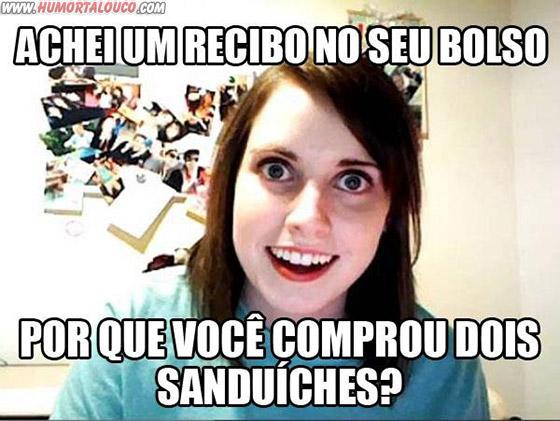 A origem: Meme namorada sinistra - Recibo, bolso, porque comprou dois sanduiches
