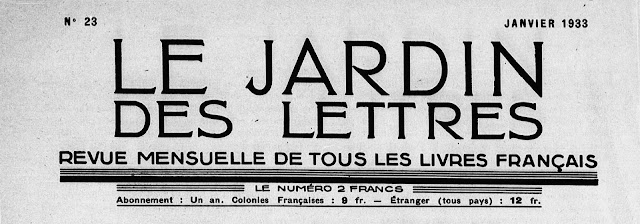 Le Jardin des Lettres n°23 - janvier 1933 LF Céline