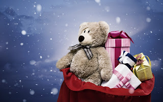Snowflakes Bear Gifts Christmas HD Wallpaper