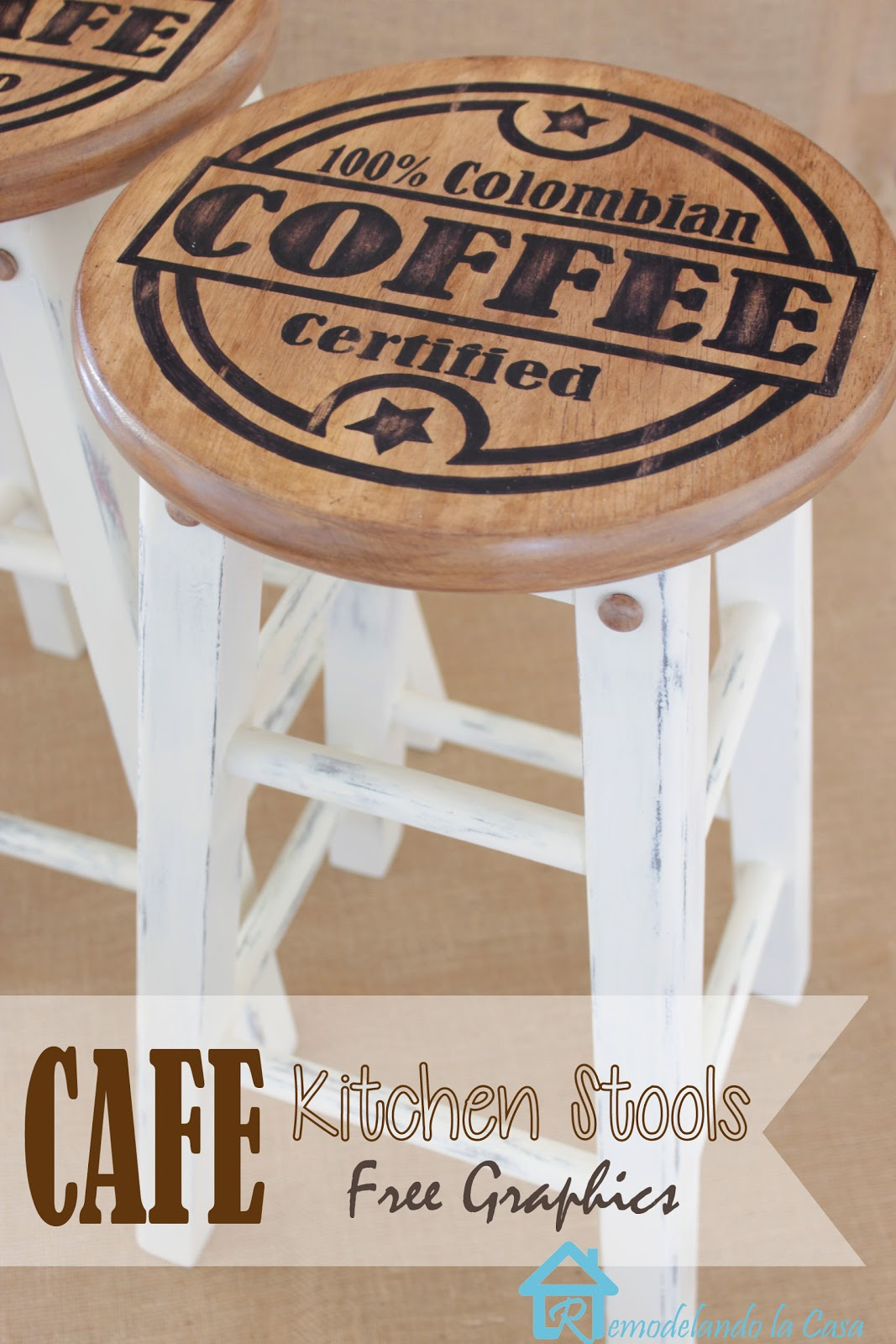 how to update the look of a set of stools with coffee graphics