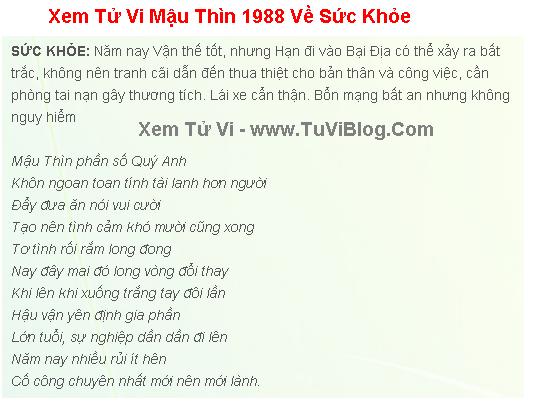Xem Tu Vi Mau Thin 1988