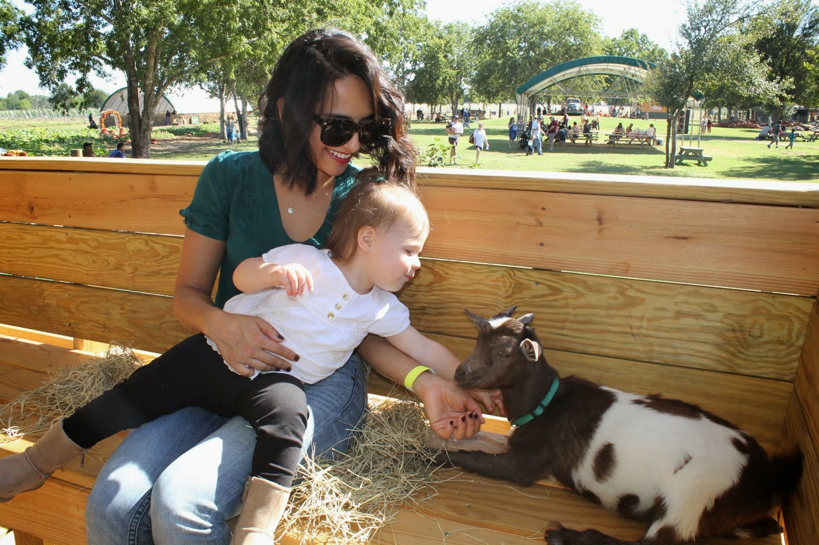 Mommy and Anabelle with baby goat | Bubbles and Gold (www.bubblesandgold.com)