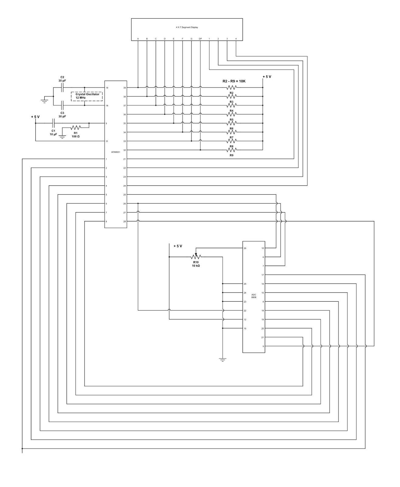 digital voltmeter using 8051 microcontroller Digital voltmeter circuit using 8051 | analog to digital converter this is a simple digital voltmeter circuit diagram using 8051 microcontroller we can also call it as analog to digital converter.