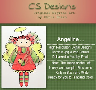 Agel, Angeline Christmas Angel Digital Stamp