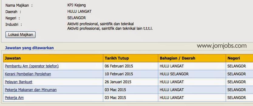 Senarai Jawatan Kosong KPJ Kajang Hospital Hulu Langkat Selangor 2015