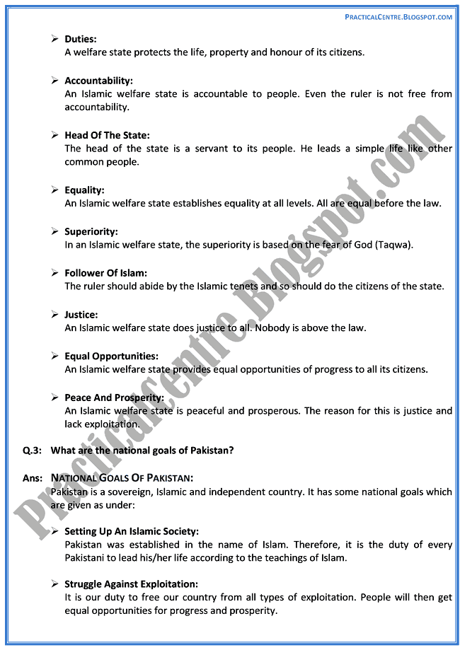 pakistan-a-welfare-state-descriptive-question-answers-pakistan-studies-9th