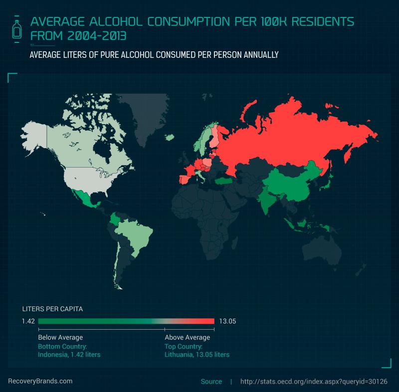 Average alcohol consumption per 100,000 residents