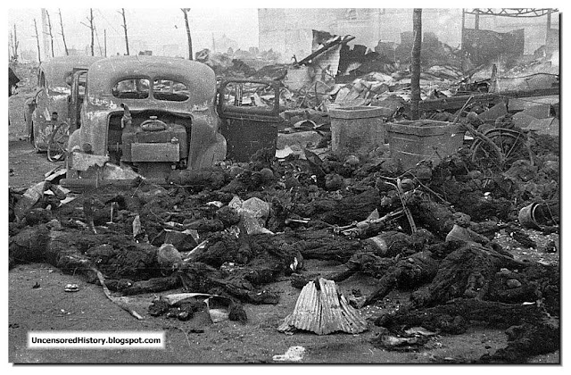 American incendiary bombing. Burnt bodies Tokyo residents. March 1945