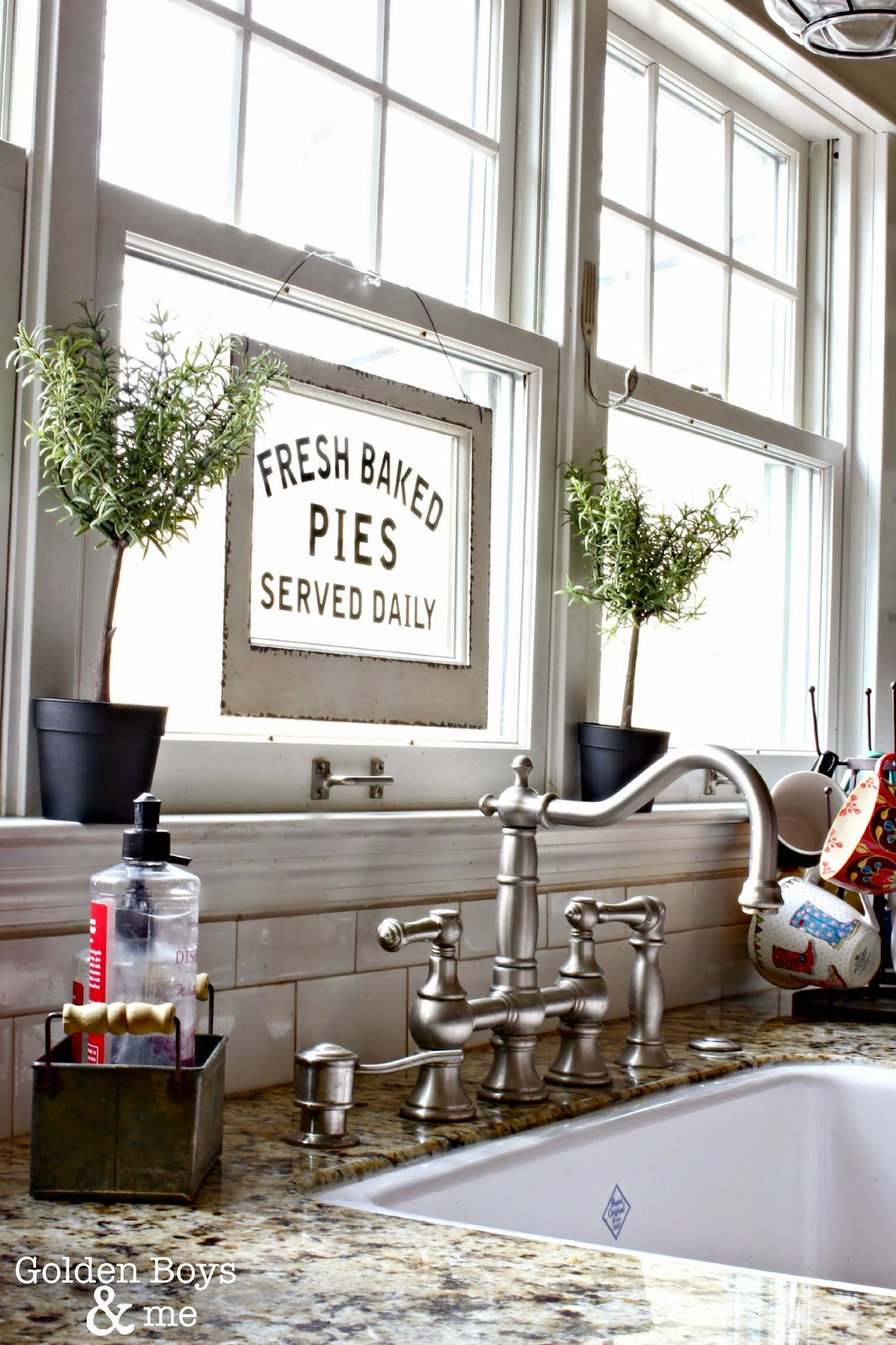 Graff bridge faucet with Rohl's Shaw Farm sink-www.goldenboysandme.com