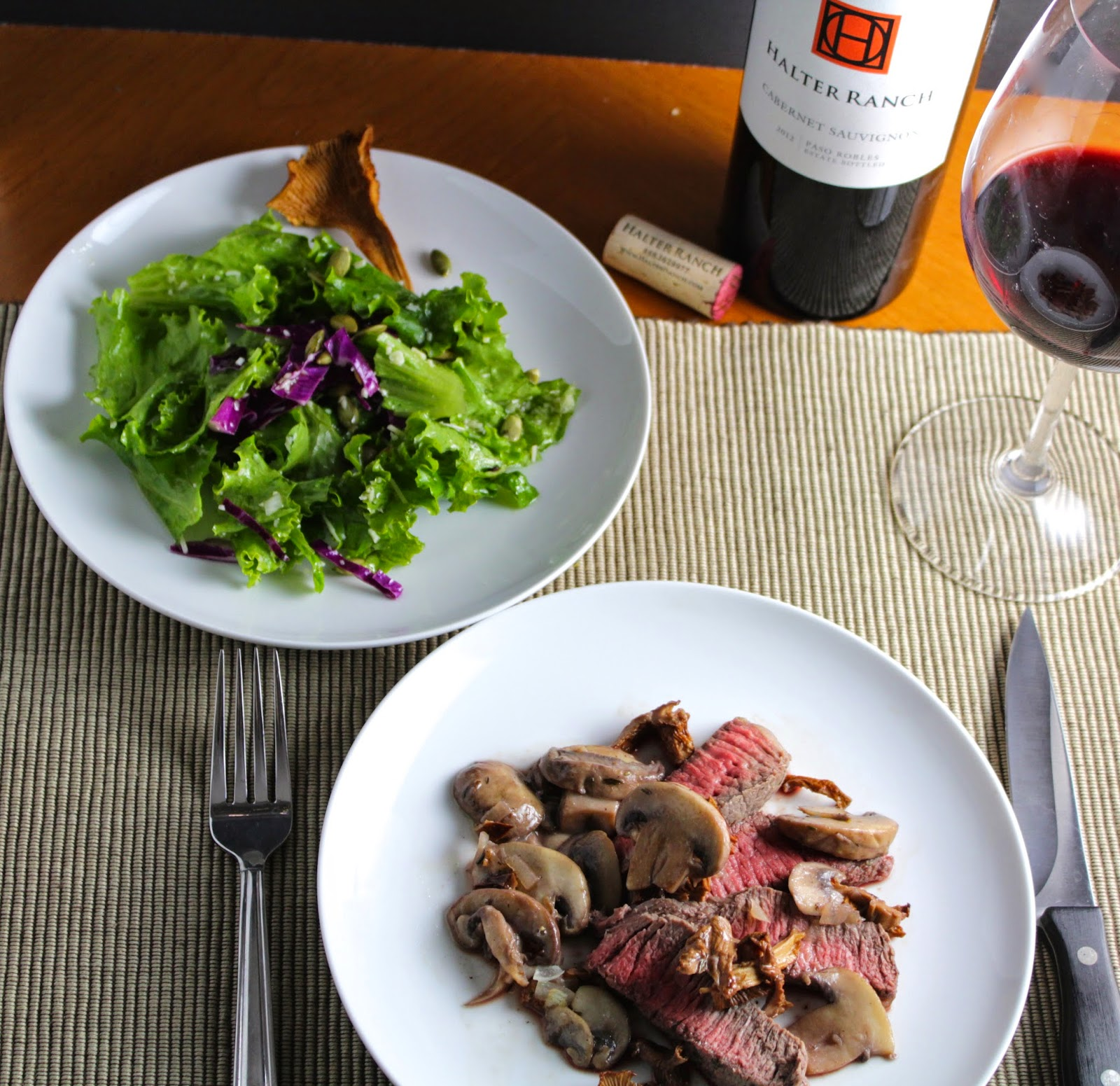 Roasted Sirloin Steak with Chanterelle Mushrooms and a Halter Ranch Cabernet Sauvignon. Cooking Chat recipe.