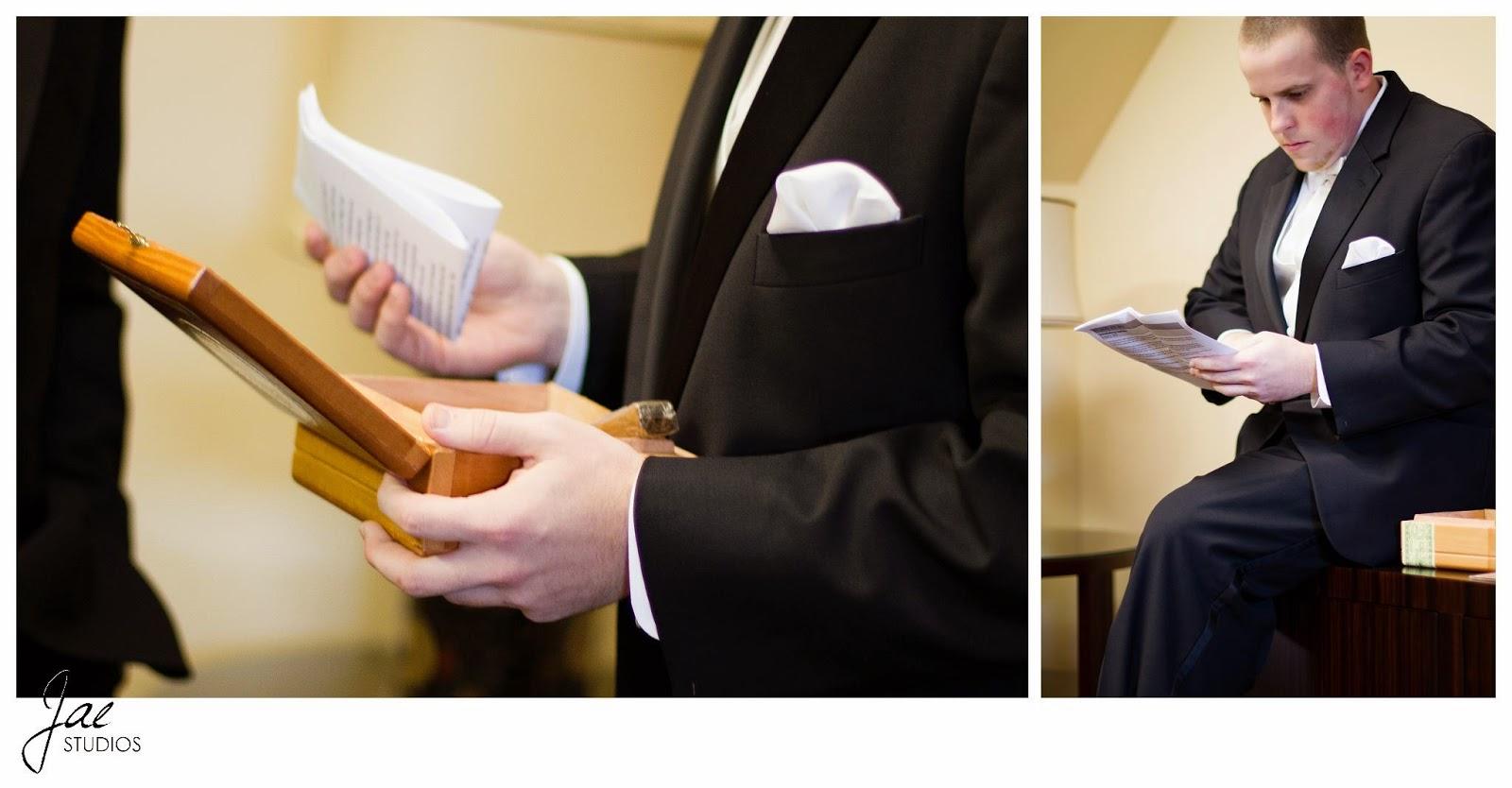 Jonathan and Julie, Bird cage, West Manor Estate, Wedding, Lynchburg, Virginia, Jae Studios, letter, bride, groom, box, tuxedo, reading