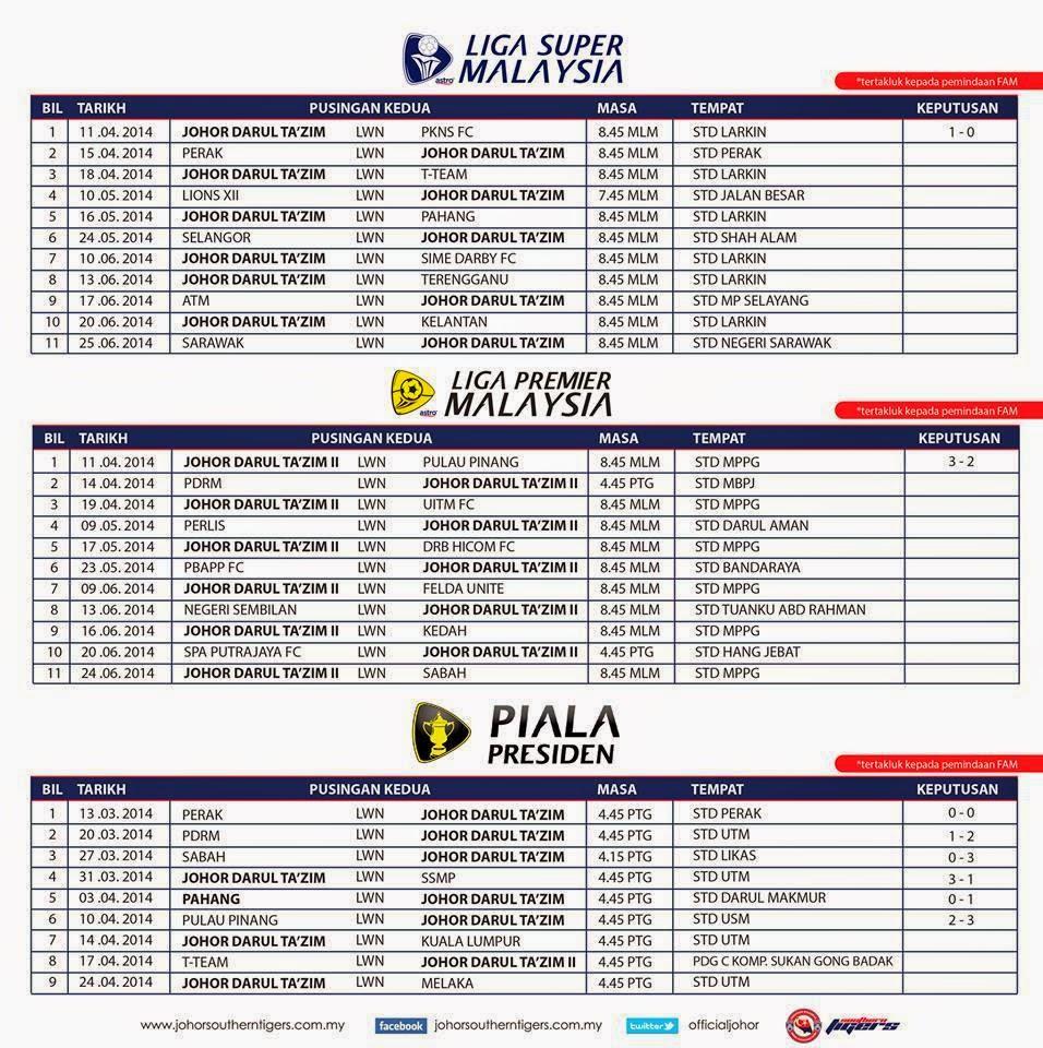 Jadual Penuh Perlawanan JDT Pusingan Kedua Liga Super Malaysia 2014