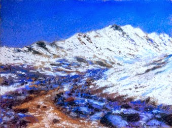 Soft pastel painting of Kunzum Pass in Spiti valley ( Himachal Pradesh ). By Manju Panchal