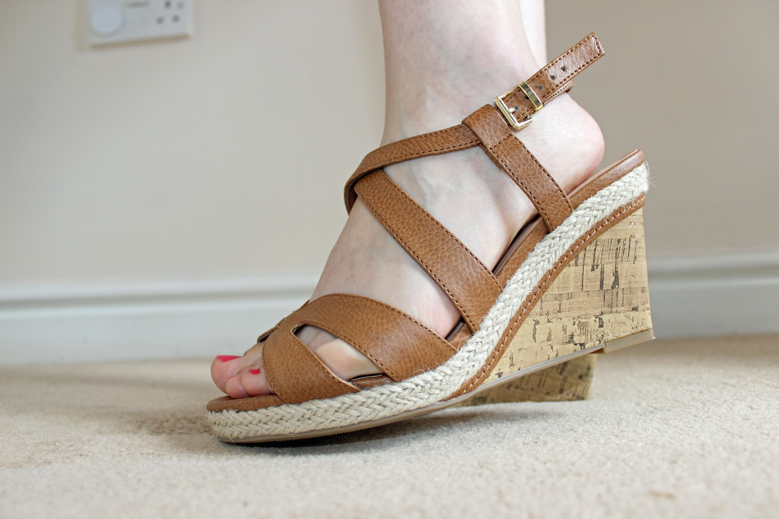 New Look wide fit tan strap wedges