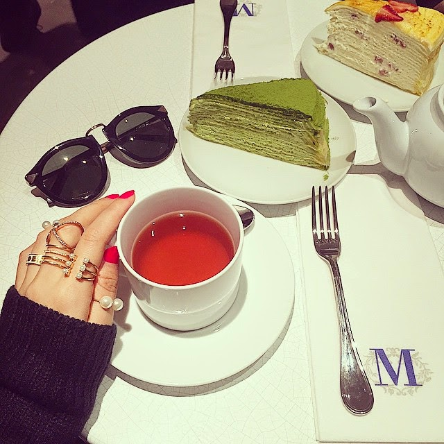 Karen Walker sunglasses, baublebar ring, pearl ring, lady M cake boutique, nyc, fashion blog, whats on my table