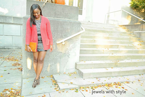 how to style a sweater, how to style a long cardigan, black leather skirt, sweater weather, how to wear a sweater, how to wear a cardigan, sweater with a skirt, chunky sweater, long sweater, jewels with style, black fashion blogger, columbus ohio blogger, bright sweater, leopard boots, leopard shoes