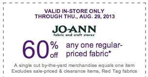 60% off regular priced fabric joann fabrics coupon