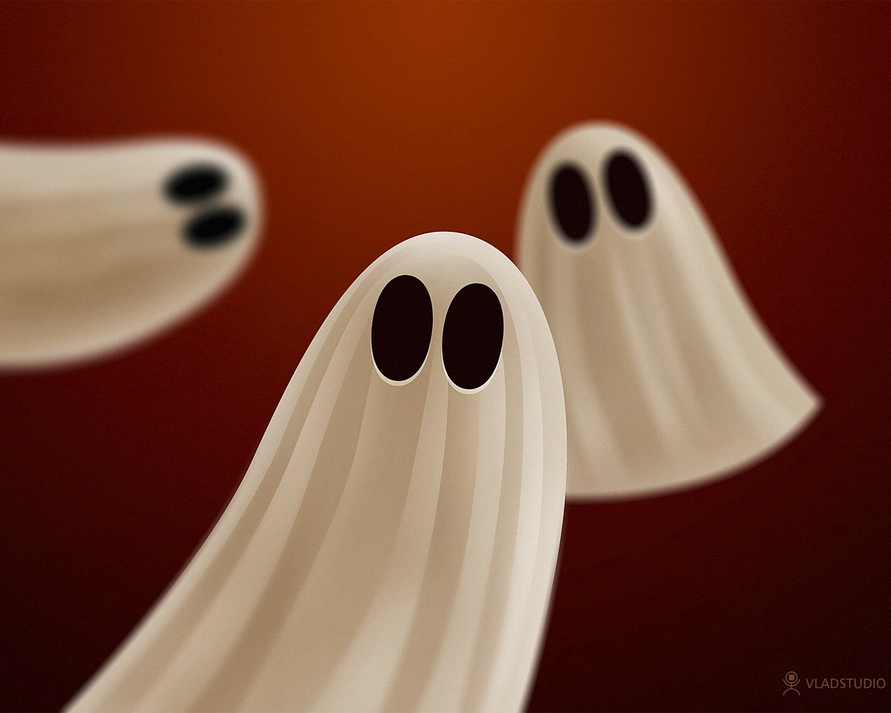 White Ghosts Dark Gothic Wallpaper