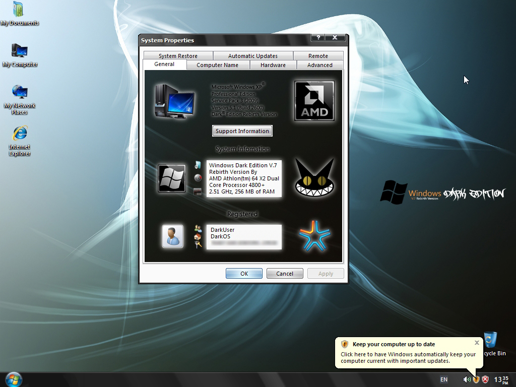 Windows XP SP3 Dark Edition v.7 Rebirth Version By Catalogk