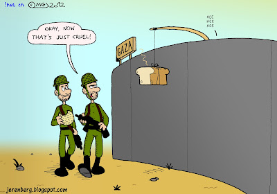 pesach pessah passover jewish israeli idf soldiers walking patrol near gaza border security fence eating matazah okay now thats just cruel loaf of bread dangling on line from pole over fence scent wafting giggling hee hee hee