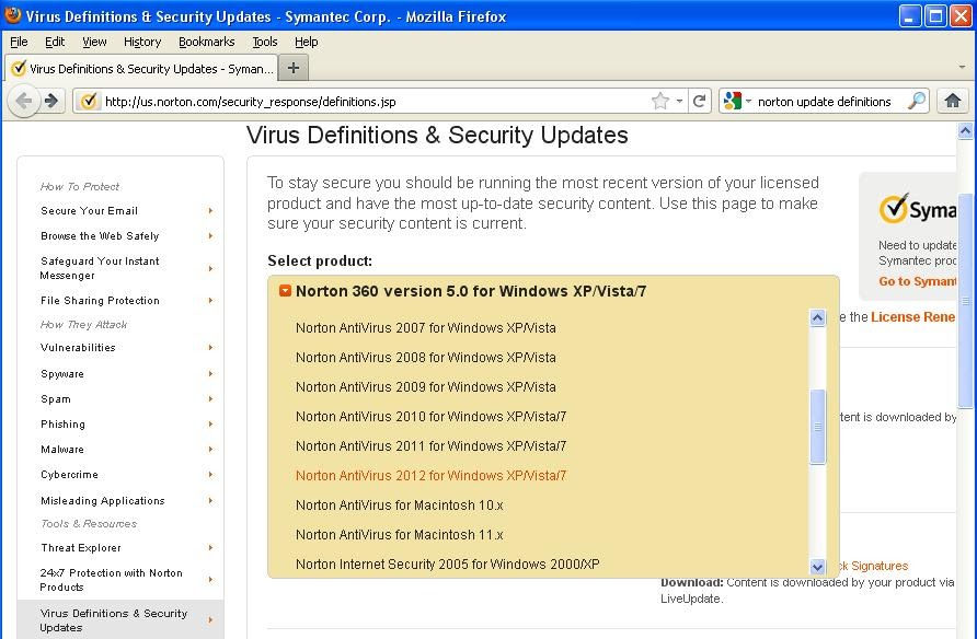 Norton Definitions for Windows XP/Vista/7/8/8.1/10 - Symantec