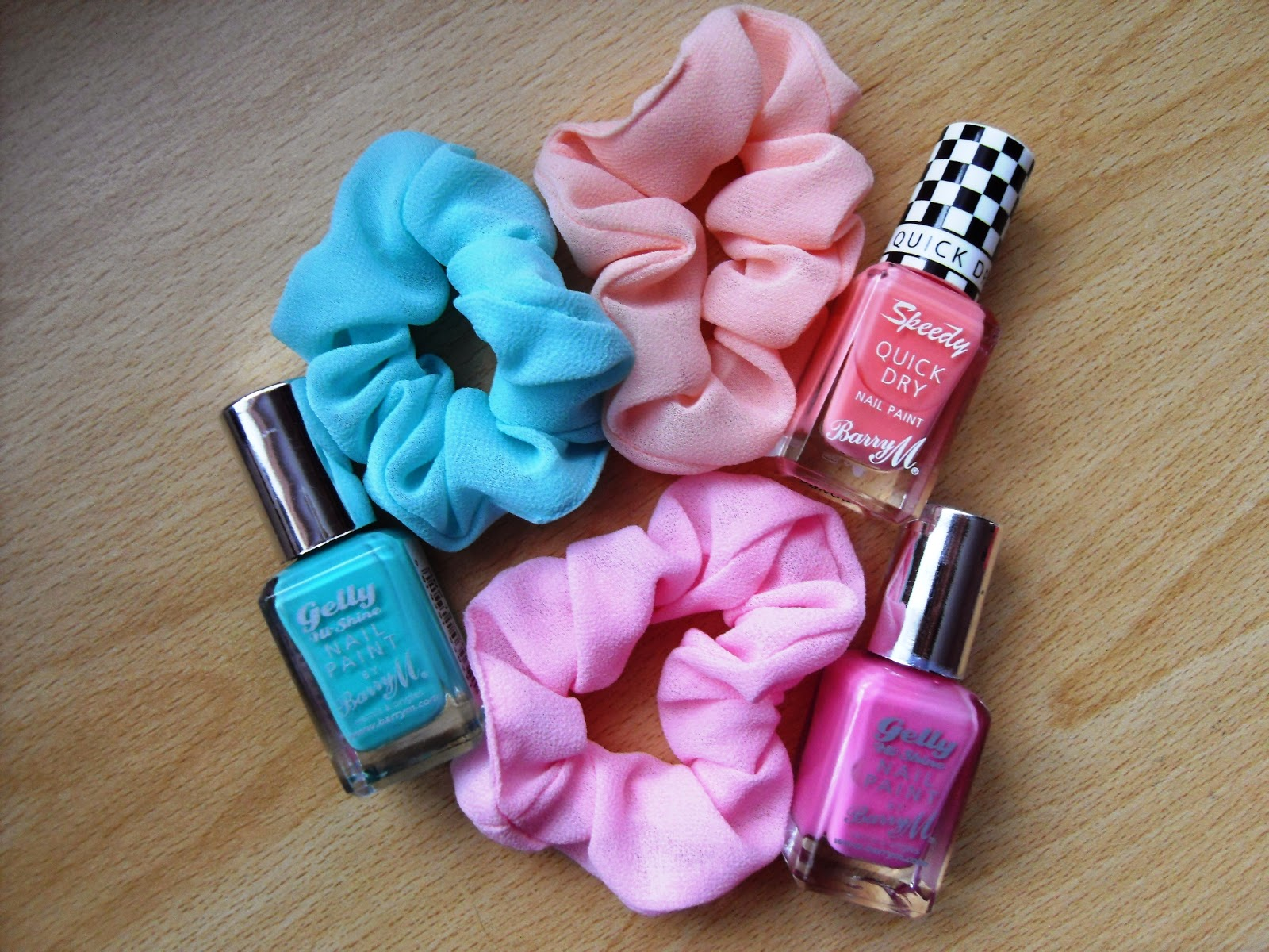 scuni hair bands, barry m matching nail polishes