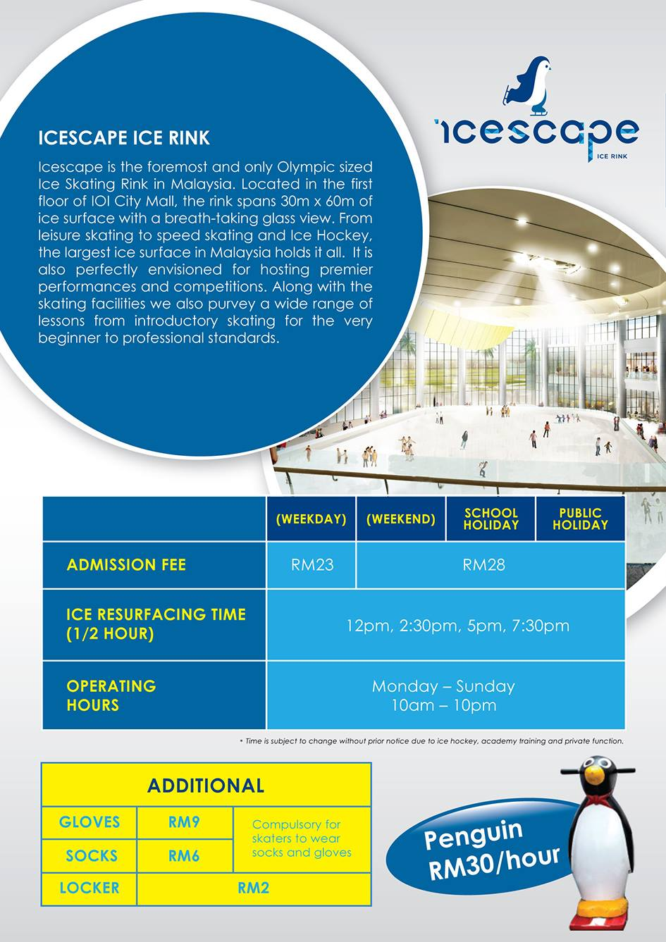 Admission fees for Icescape ICe Rink @ IOI City Mall