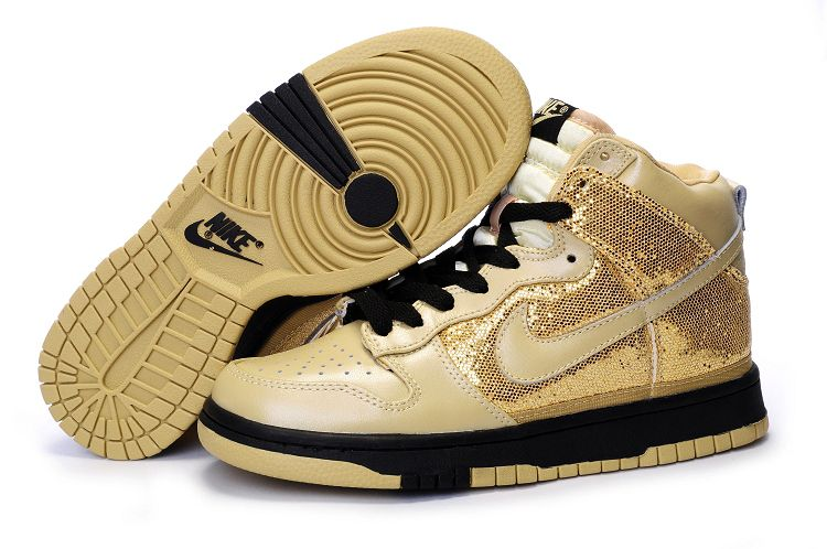 women nike dunk high gold