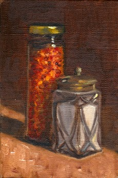 Oil painting of a glass Art Deco salt shaker with a patinated metal lid, alongside a tall glass jar of chilli flakes with a gold-coloured lid.