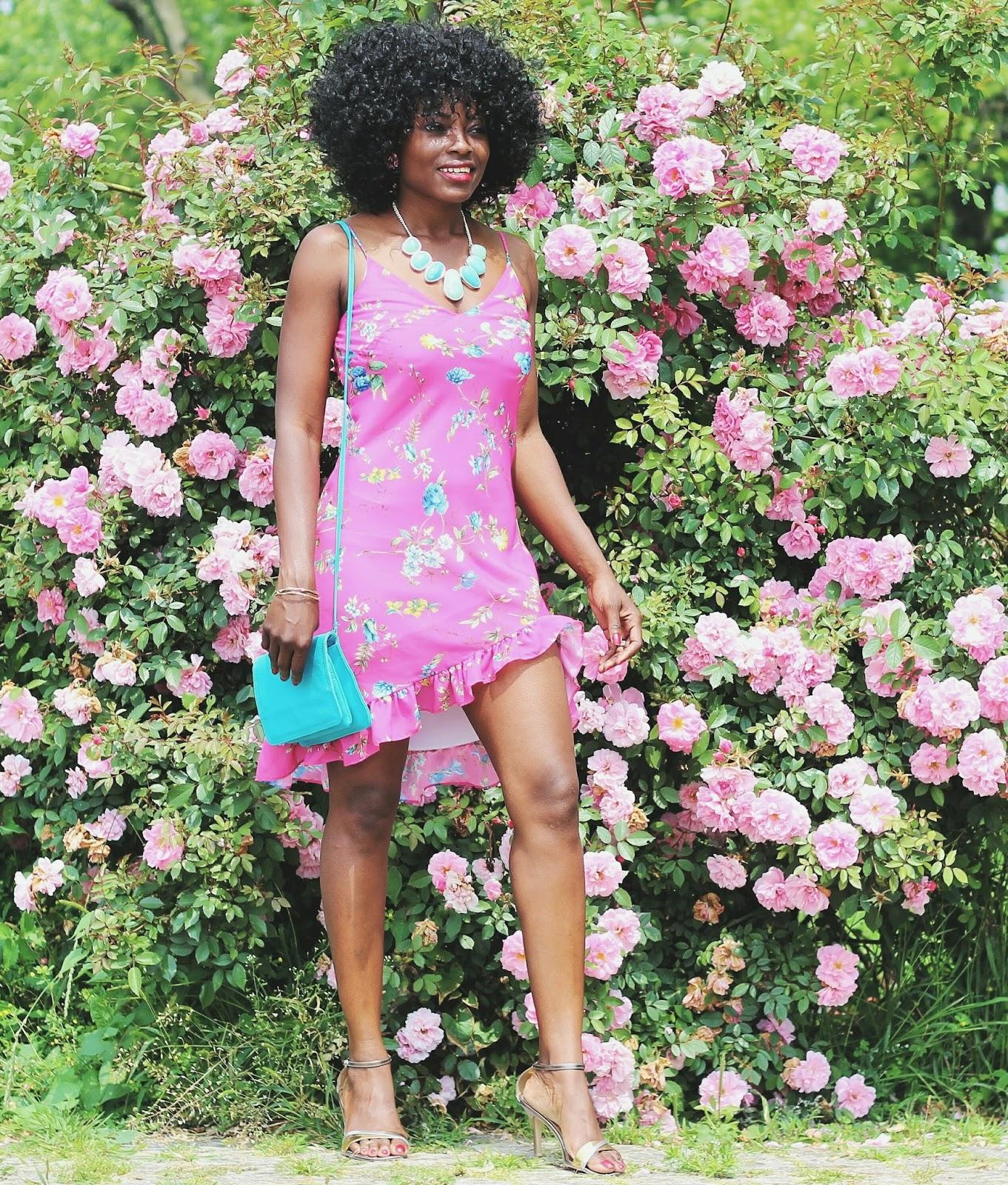 High-low Hemline Floral Print Dress