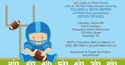 bunny prints football baby shower invitations