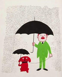 a man and his dog under an umbrella illustration by Raymond Savignac