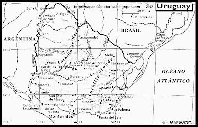 Mapa Fisico de URUGUAY, Atlas, blanco y negro