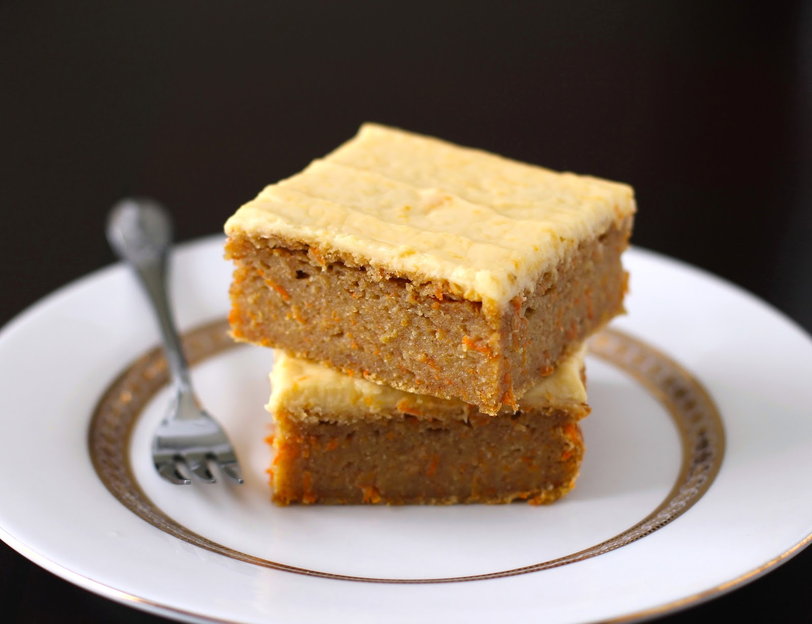 Healthy Carrot Cake Blondies with Orange Frosting (sugar free, low fat, gluten free, vegan)