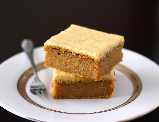 Healthy Carrot Cake Blondies with Orange Frosting (sugar free, low fat, gluten free, vegan) - Desserts with Benefits